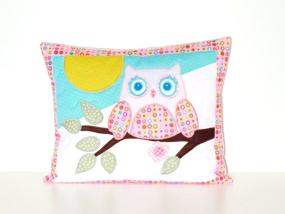 Nursery Pillow Cover, Throw Pillow Cover,  12 x 16 Inches, Pink and Aqua Blue, Rainbow Accent Pillow