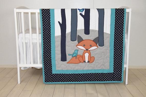 Fox Blanket, Teal Navy  Gray Nursery, Baby Boy Quilt, Woodland Crib Bedding, Forest Blanket,  Custom Made