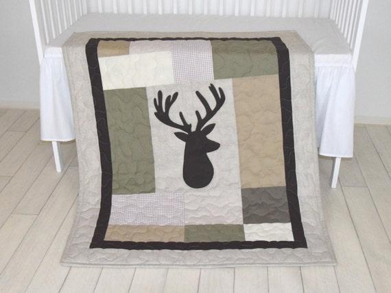 Deer Boy Bedding,  Deer Crib Quilt,  Antler Baby Blanket, Deer  Head  Blanket,  Green, Beige, Brown, Cream