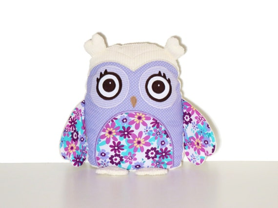 Plush Owl Toy, Fabric Owl Doll,  Woodland Nursery Decor, Child Friendly Cloth Owl