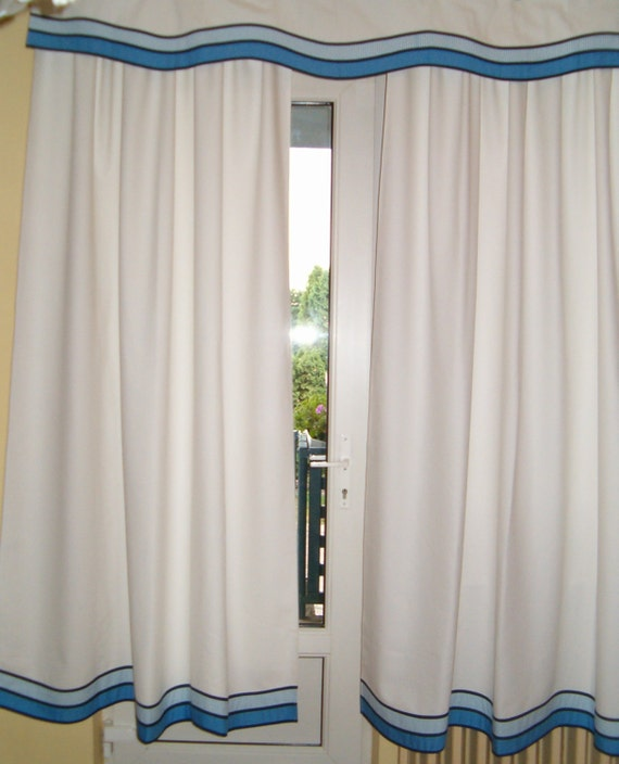 Nautical Window Curtains and  Valance -  Nautical Decor   (this is for a pair)