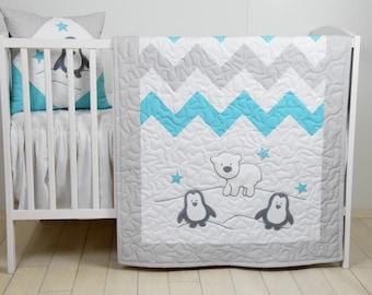Penguin Baby Quilt, Chevron Gray Aqua Toddler Blanket, Handmade Crib Bedding for Baby Boy or Baby Girl