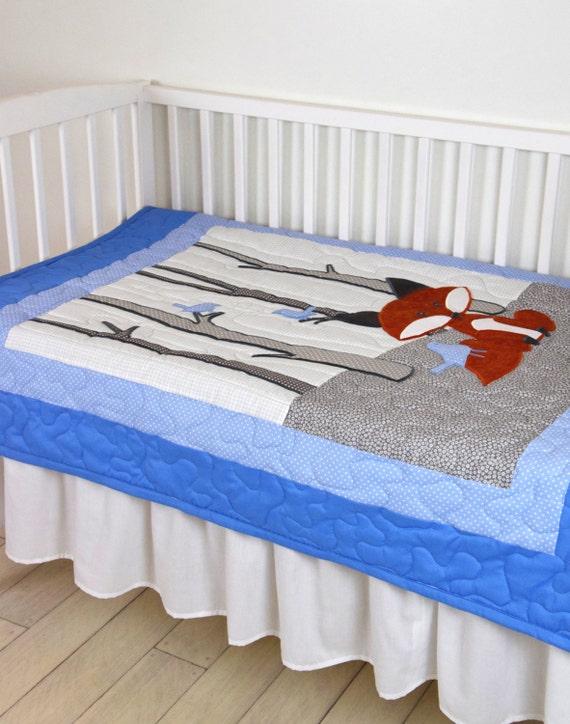 Fox Blanket, Woodland Nursery Quilt, Baby Boy Quilt, Boy Crib Bedding, Forest Blanket, Blue  Gray Blanket, Custom Made