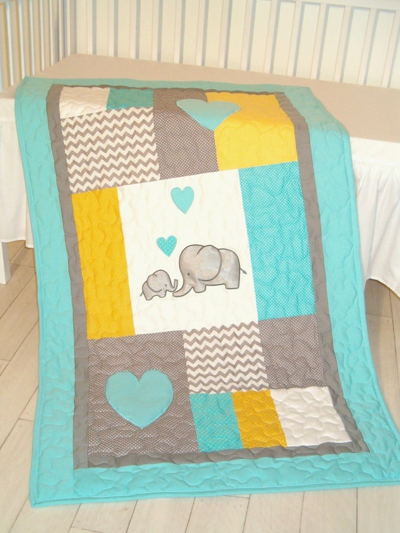 Elephant Blanket, Elephant Quilt Blanket, Aqua Gray Chevron Baby Patchwork Blanket