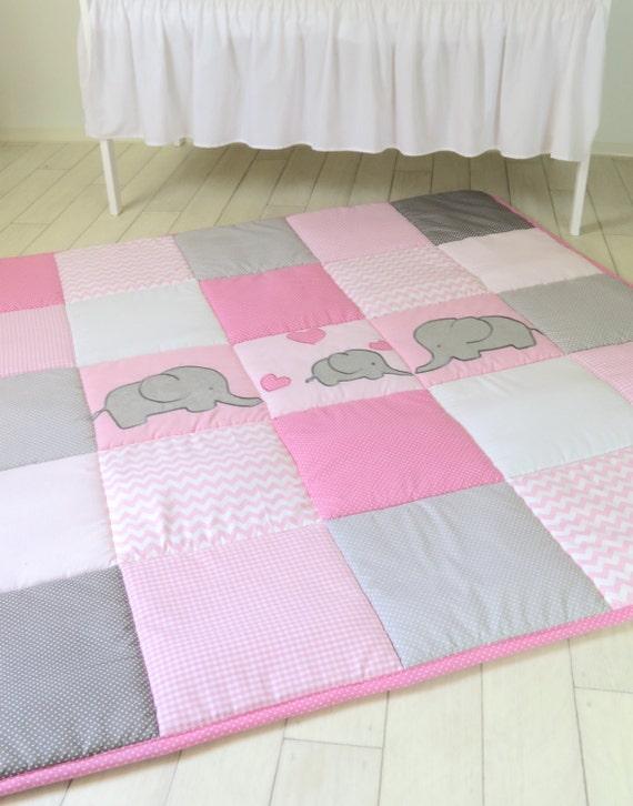 Baby Playmat, Chevron Play Mat, Pink Gray Baby Rug, Crawling Blanket