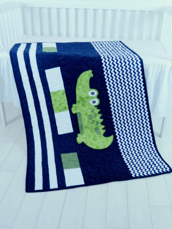 Alligator Blanket, Baby Boy Blanket, Navy Stripes, Preppy Quilt Blanket, Madras Alligator Blanket,  Baby Boy Room,  Navy Chevron Quilt