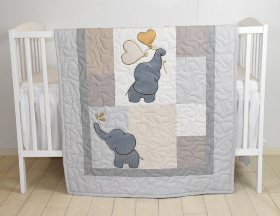 Baby  Quilt,  Elephant Blanket, Gold Raw Brown Crib Bedding, Safari Nursery