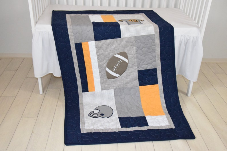 Football Blanket Baby Boy Sports Crib Bedding Gray Navy Etsy