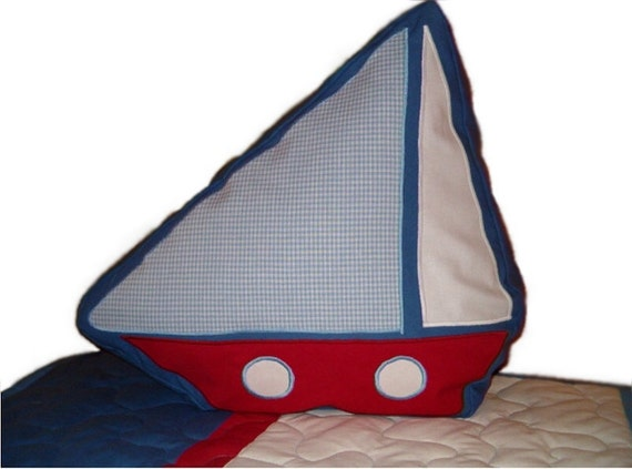 NAUTICAL Ship's PILLOW into Children's Room - Sailing boat PILLOW
