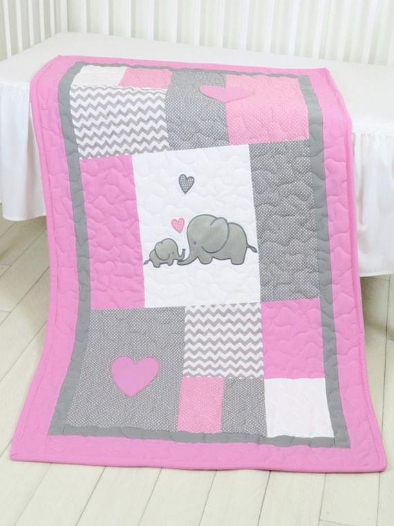 Elephant  Baby Blanket, Elephant Quilt Blanket, Pink Gray Chevron Baby Patchwork Blanket