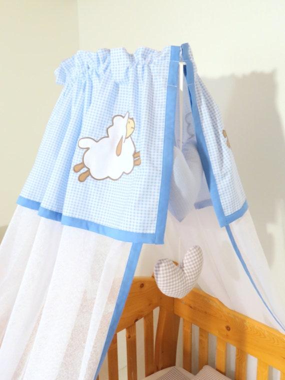 Canopy, baby blue bed canopy, crib canopy for baby boy, custom lamb, sheep canopy