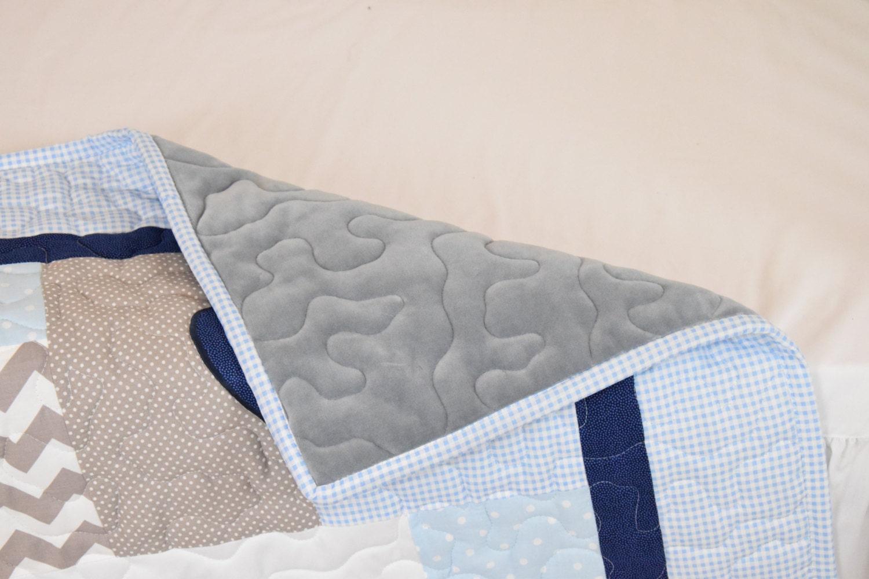 Elephant Baby Blanket Blue Gray Navy Quilt Crib Bedding