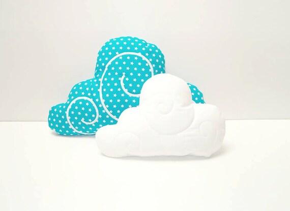 Cloud Pillow Set (2)  - Nursery Decor - Kid Pillow -Turquoise - White