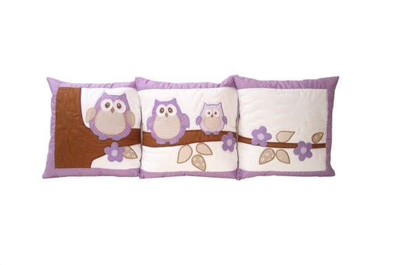 Owl PILLOW   COVERS - Home Decor-  Quilt Pillow - Children Decor- Baby Shower Gift, Child Decor,  HET  -purple-white-beige-