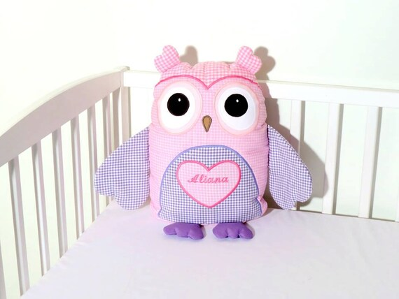 Owl Pillow, Custom Owl  Throw Pillow, Homemade Owl Pillow Pet, Monogrammed Baby Pillow , Designer Owl Pillow,  Purple-Pink