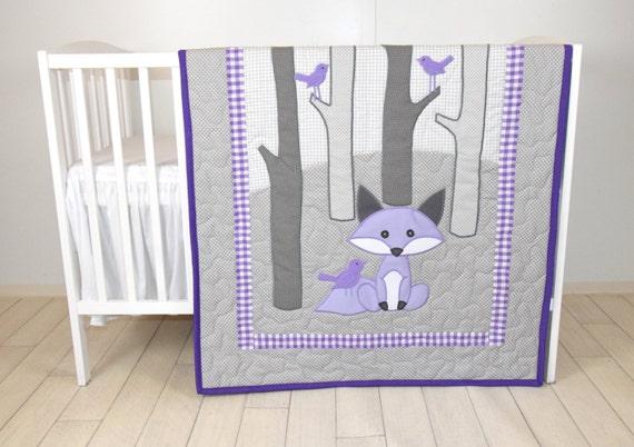 Woodland blanket, Birch tree crib quilt, Personalized fox crib bedding, Personalized baby blanket, gray  and purple