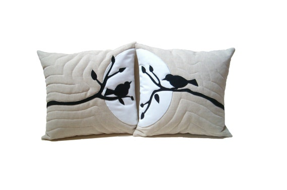 Wedding Pillows, Designer Pillows,  Love  pillows,  Bird in Tree  Linen Pillows  Appliqued  Nature bridal shower gift