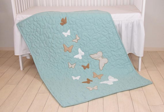 Butterfly Blanket, Mint  White Beige Butterfly Quilt Blanket, Modern Baby Crib Blanket