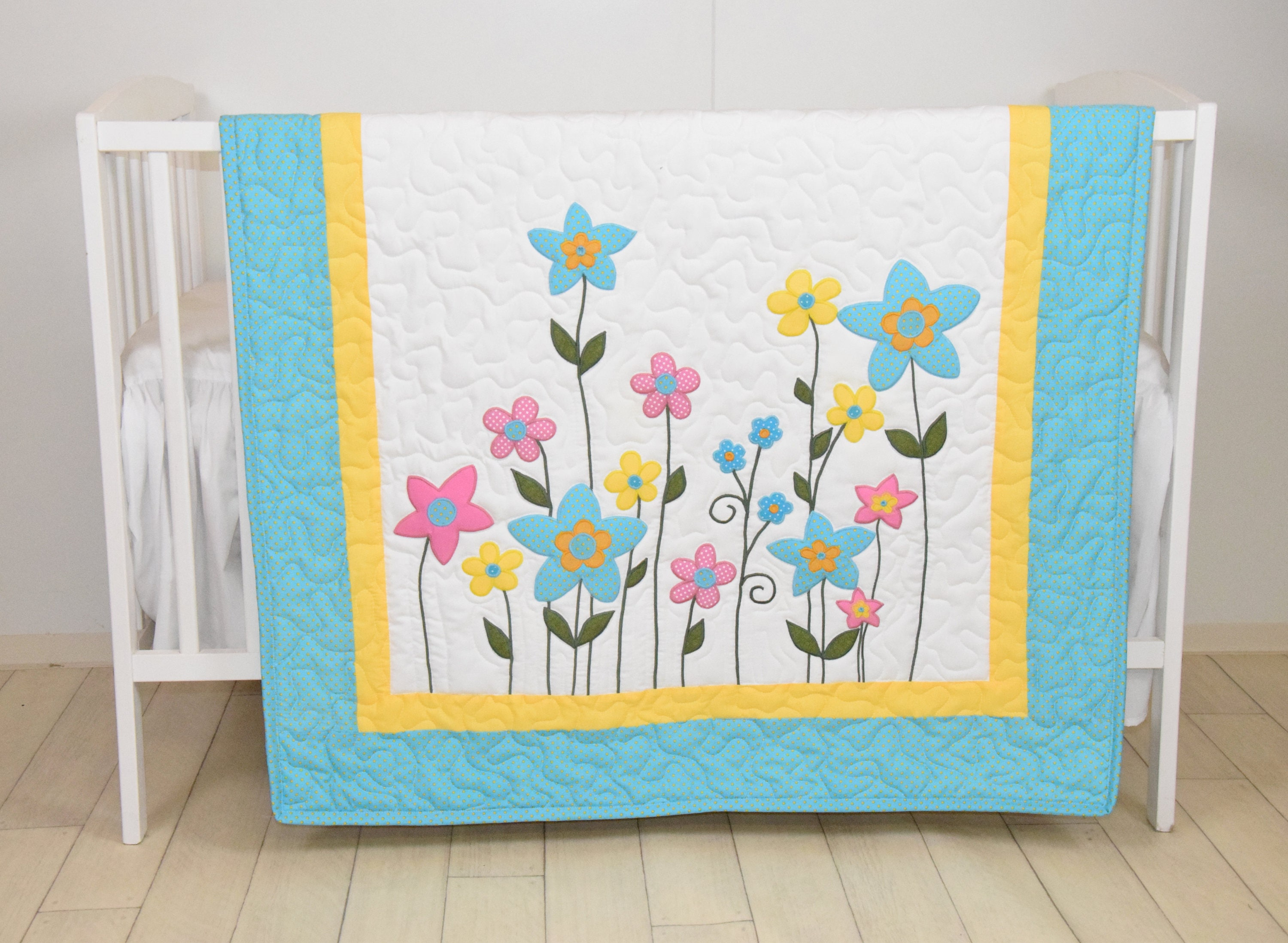 Flower Baby Quilt Yellow Pink And Aqua Garden On Light White Hand