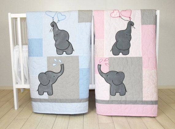 Twin Baby Quilts, Pink Blue Twin  Crib Bedding, Elephant Kids  Blanket, Patchwork Organic Infant Bedding