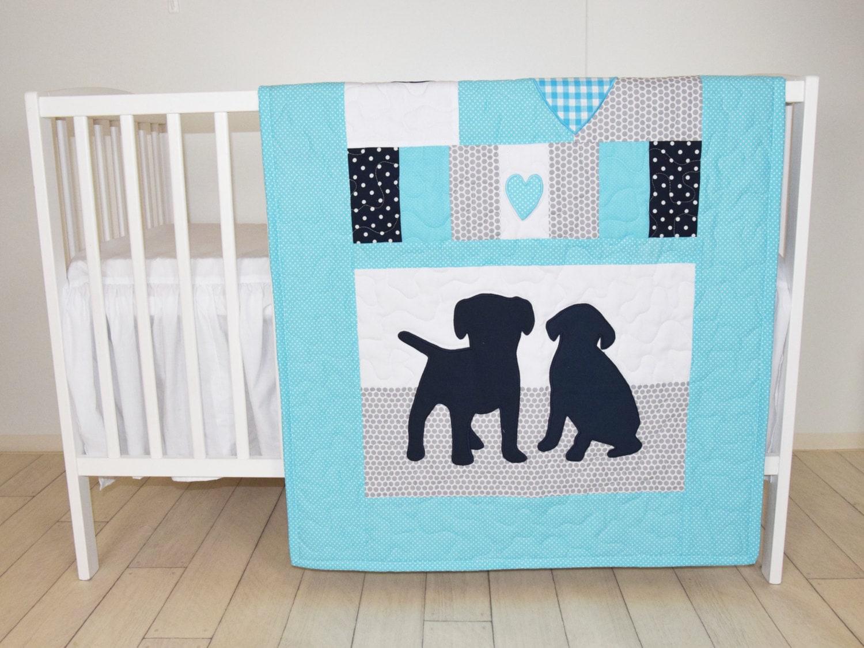 Puppy Blanket Dog Nursery Quilt Baby Boy Quilt Boy Crib Etsy