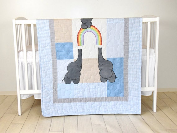 Baby Blue Blanket, Elephant and Rainbow Crib Quilt,  Gray Blue Bedding, Toddler Patchwork Bespread