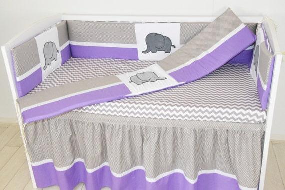 Crib Bumper, Elephant Baby Boy Bedding Purple  Gray White