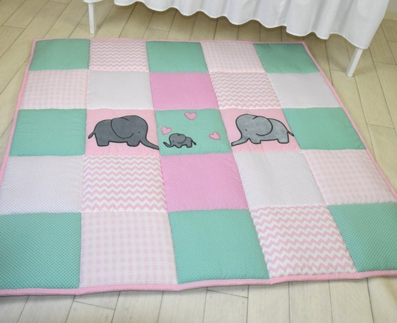 Baby girl play mat, mint pink playmat, floor gym crawl mat, baby mat thick large, soft baptism gift for boys and girls