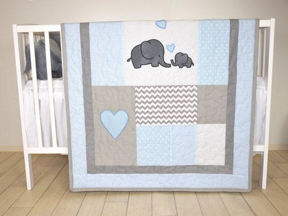 Elephant Baby Quilt, Blue Gray Crib Bedding, Chevron  Elephant Blanket, Grey Safari Nursery