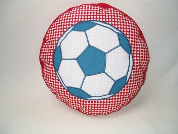 Football Fan Gift, SOCCER  PILLOW,  Ball Pillow- Red -Blue and White Cushion -