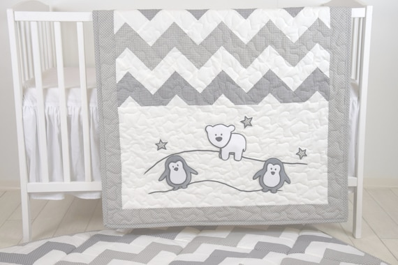 Penguin Baby Quilt, Chevron Gray Toddler Blanket, Handmade Crib Bedding for Baby Boy or Baby Girl