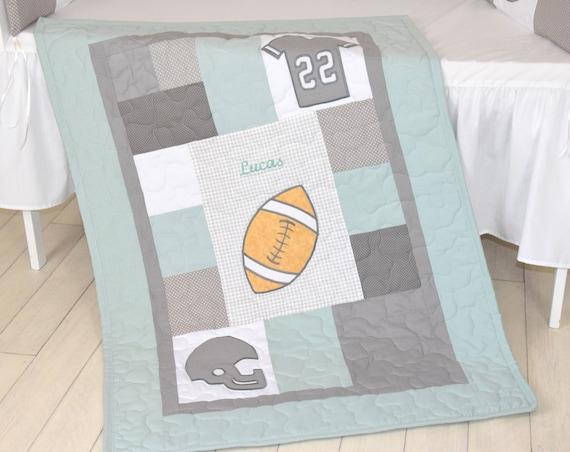 Football Blanket, Baby Boy Sports Crib Bedding, Gray Mint Green Football  Comforter, Football Nursery