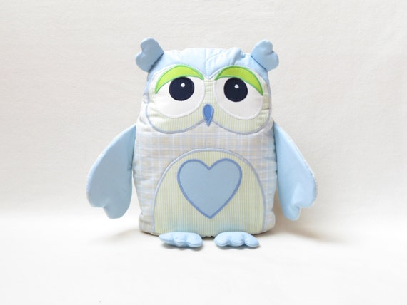 Decorative  Owl, Stuffed Owl Pillow, Monogram Owl Pillow Case, Baby Blue and Lime Green Nursery