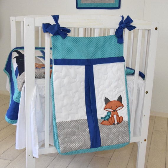 Fox diaper stacker in teal and gray, nappie holder, nappie stacker, diaper carrier, diaper holder, baby shower gift