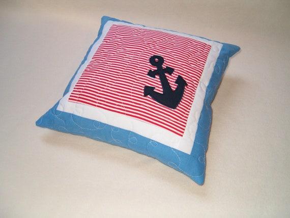 NAUTICAL  PILLOW -  Blue Red and White- Nautical Ocean Beach Theme - HET