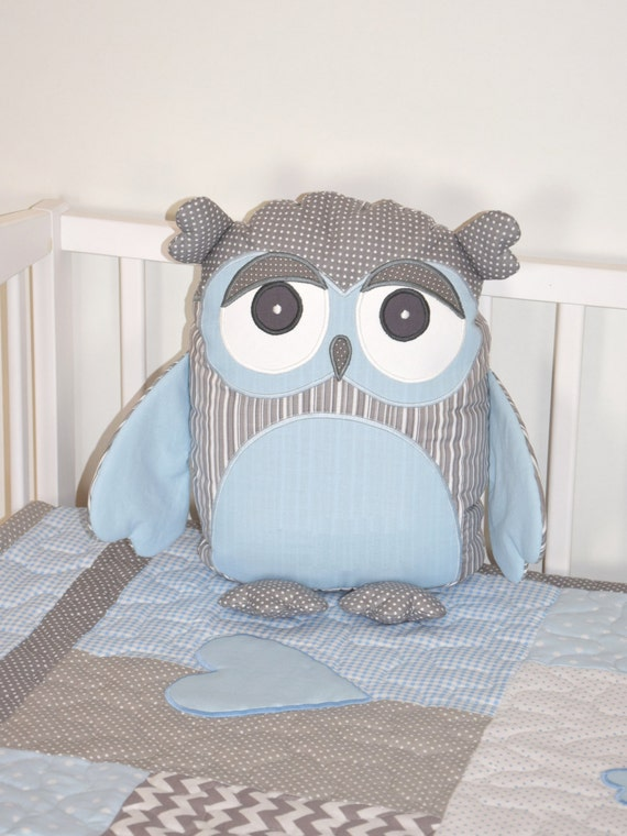 Baby Owl Pillow, Owl Cushion, Owl Pillow, Plush Owl, Stuffed Owl, Decorative Owl, Woodland Pillow, Baby Shower Gift,. Baby Blue and Gray