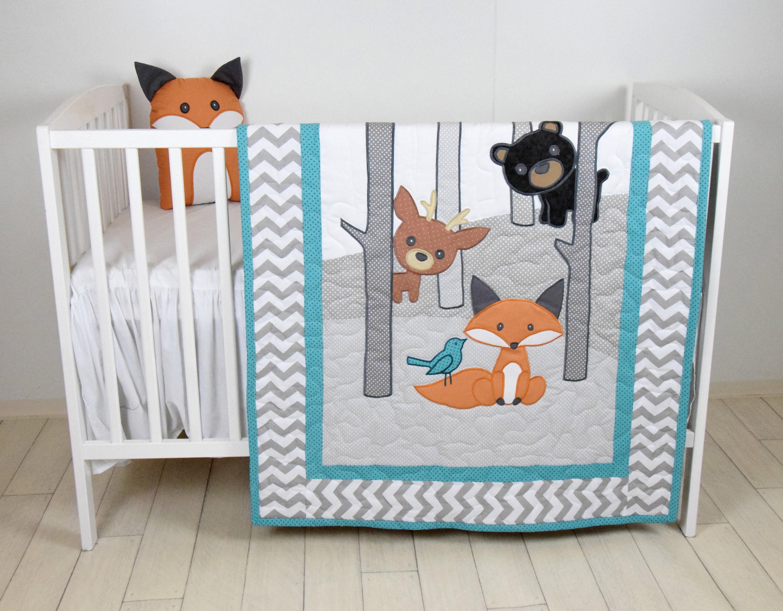 Woodland Blanket Baby Boy Or Girl Crib Bedding Forest Etsy