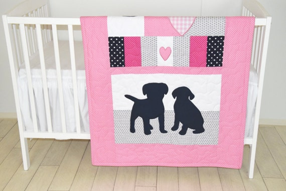 Puppy Baby Quilt, Dog Nursery Blanket, Baby Girl Quilt,  Pink  Crib Bedding, Labrador Blanket, Pink  Gray Dark Blue Blanket, Custom Made