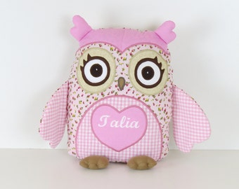 Baby Owl, Romantic Roses Owl  Pillow, Monogram Pillow,  Nursery Decor,  pink roses