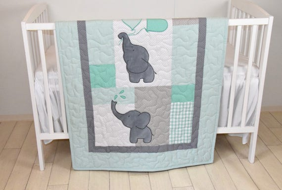Baby Quilt Elephant Blanket Mint Green, Gray And Mint Green Baby Bedding