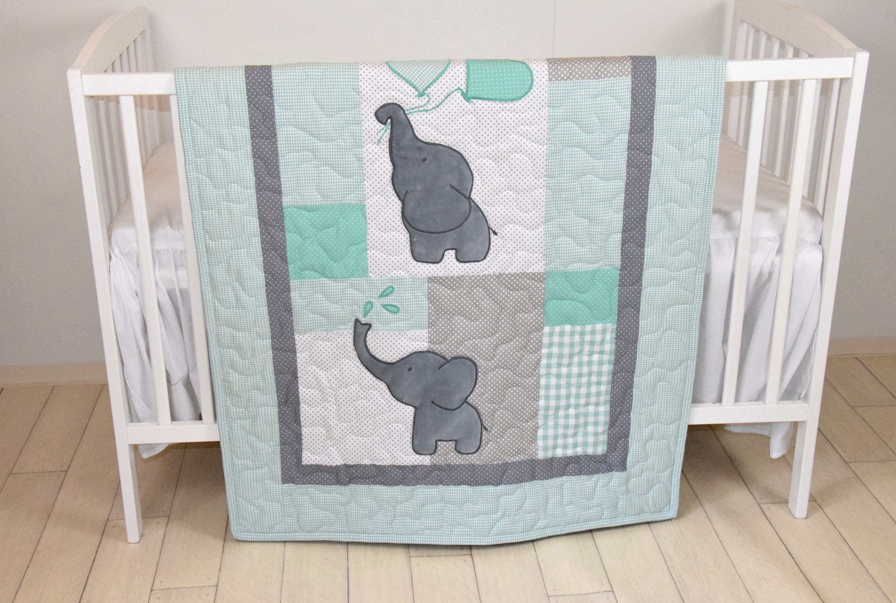 baby quilt elephant blanket mint green gray crib bedding safari