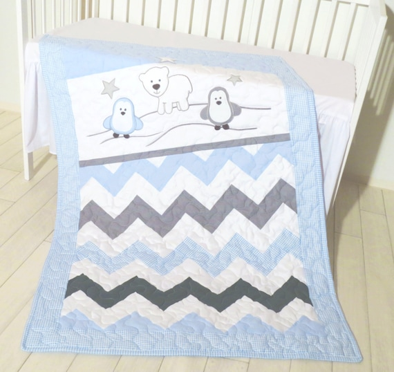 Penguin Crib Quilt, Handmade Crib Quilt for Baby Boy