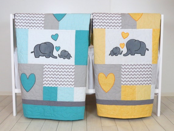 Twin Baby Quilts , Elephant Crib Bedding,  Turquoise Blue  Yellow and Gray Blanket, Chevron  Blankets, Toddler Patchwork Bespreads