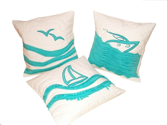 NAUTICAL  PILLOWCASES -  Turquoise and White- Nautical Ocean Beach Theme - HET