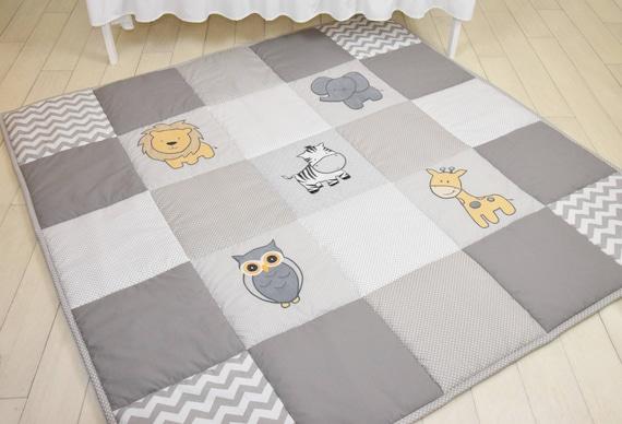 Gray Baby Play Mat, Jungle Baby Mat , Baby Activity Mat, Safari Baby Playmat, Playroom Decor