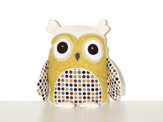 Soft  Owl Pillow, Personalized Gift for Kids, Unisex, Monogrammed Child Pillow,  Owl Kids Room Decor
