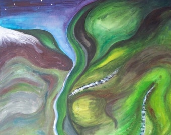 Scottish highlands abstract acrylic painting
