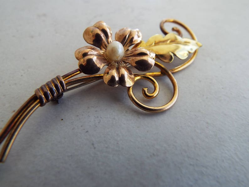 Gold Filled Flower Van Dell Brooch Pin Pearl Rose and Yellow Gold