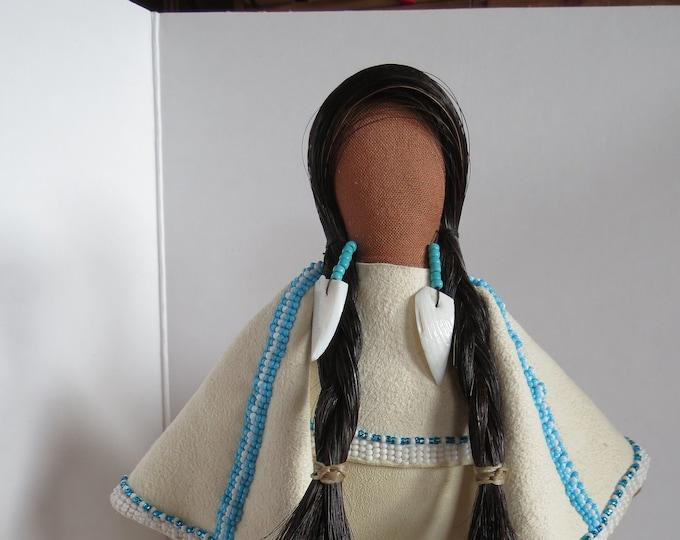 Native American Cloth Doll Beaded Lakota Artist Made