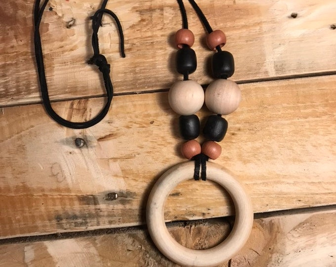 Native American Made Wood and Bead Necklace
